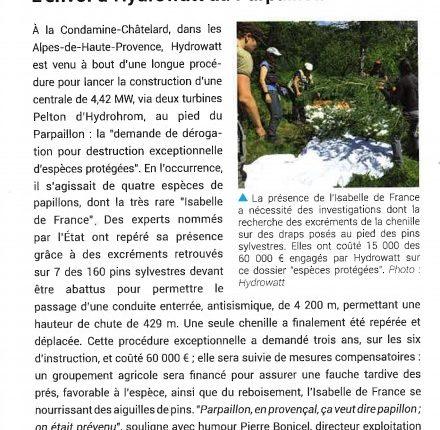 Article puissance hydro envol d'hydrowatt au parpaillon 2021
